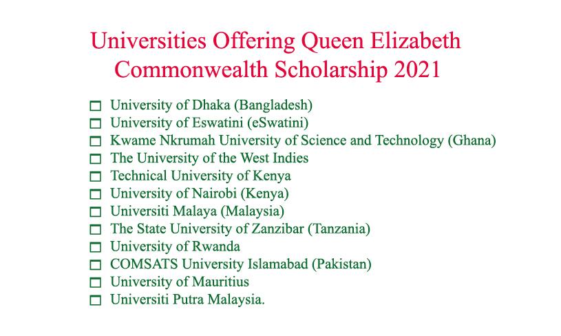 Universities-Offering-Queen-Elizabeth-Commonwealth-Scholarship 2021