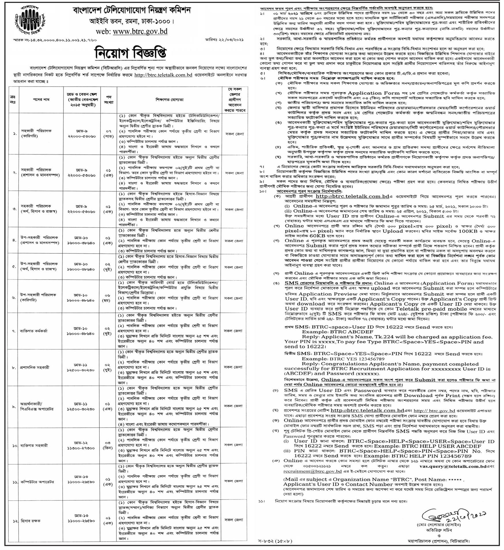BTRC Job Circular 2021