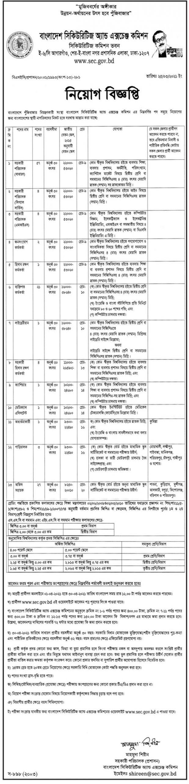 BSEC Job Circular 2021