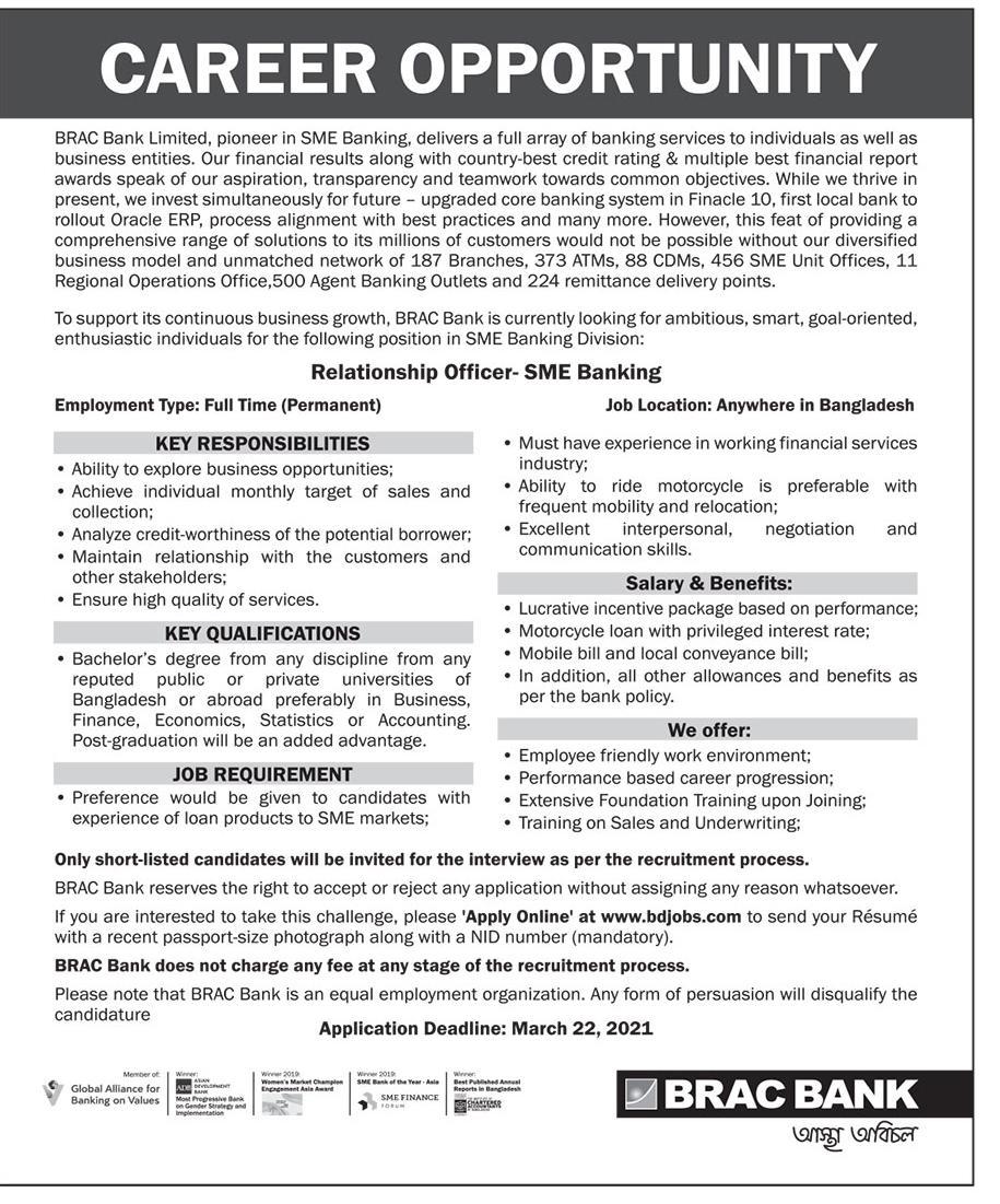 Brac Bank Job Circular for Relationship Officer