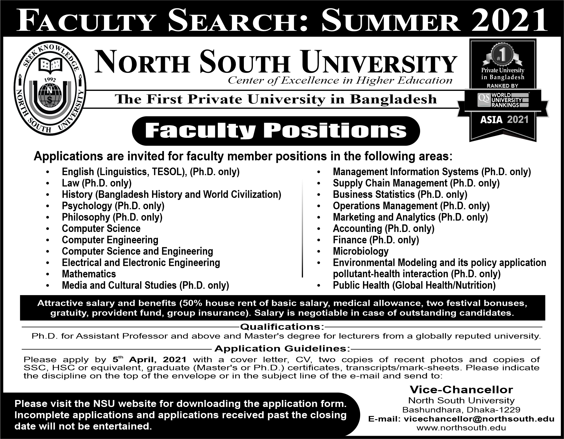 NSU Faculty Search For Summer 2021