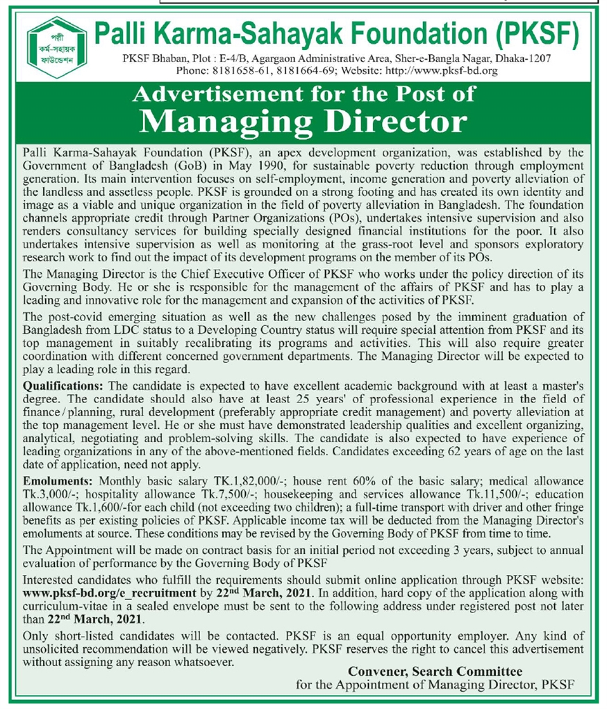 PKSF Job Circular for Managing Director Position