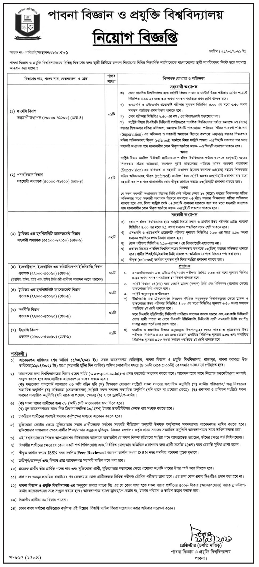PUST Job Circular For several Faculty Positions