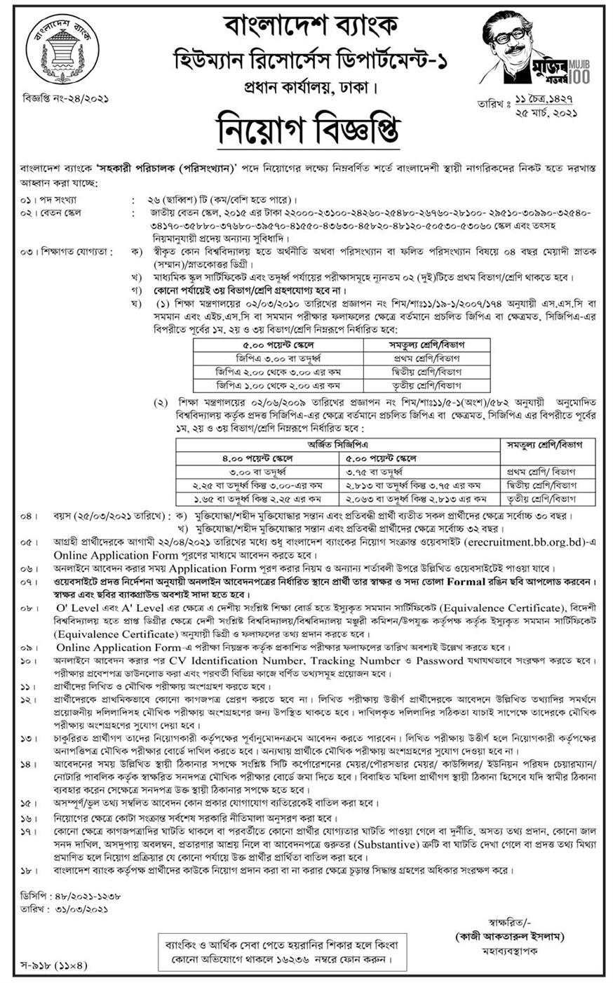 Bangladesh Bank Circular for Assistant Director (statistics)