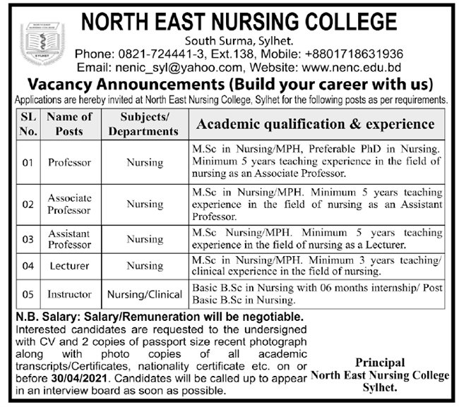 North East Nursing College Job Circular 2021